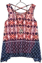 Knitworks Knit Works Beautees Border Print Chiffon Tank Top with Necklace - Girls 7-16