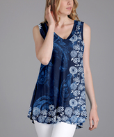 Lily Blue & White Floral Paisley Sleeveless Tunic - Plus Too