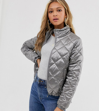 Wednesday's Girl quilted bomber jacket-Silver