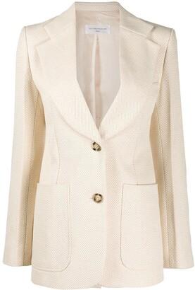 Victoria Beckham Chevron-Weave Single Breasted Blazer