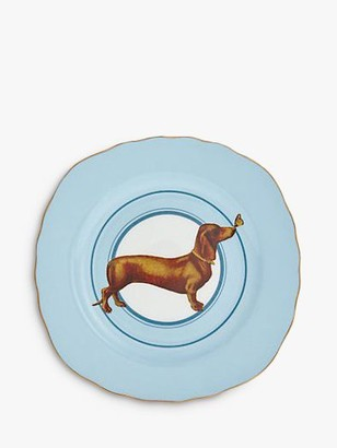 Cake Yvonne Ellen Sausage Dog Plate, 16.5cm, Blue/Multi