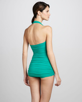 Norma Kamali Bill Ruched One-Piece Swimsuit, Net Green