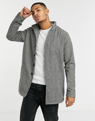 French Connection brushed funnel houndstooth formal trench coat