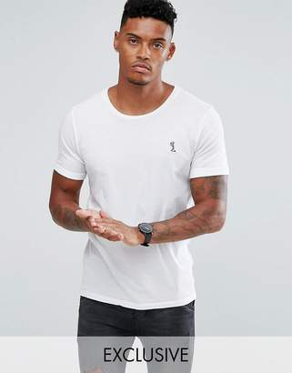Religion t-shirt with rolled sleeves-White