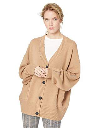 The Kooples Women's Women's Knitted V-Neck Cardigan with Brown Buttons