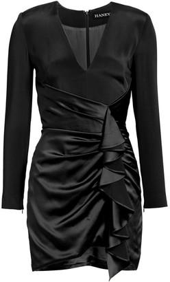 HANEY Draped Ruffle Silk Mini Dress