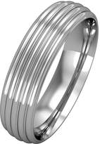 Jewelco London 18ct White Metal - 5mm Essential Court-Shaped Ribbed Band Commitment / Wedding Ring