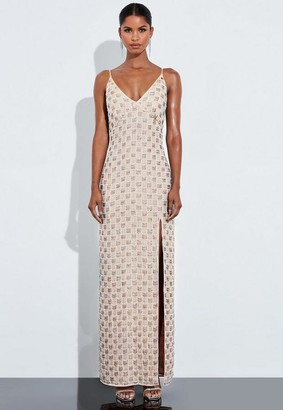 Missguided Silver Embellished Plunge Maxi Dress