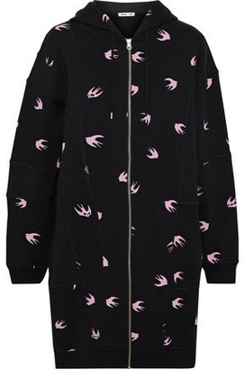 McQ Printed French Cotton-terry Hooded Mini Dress