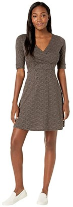 Toad&Co Cue Wrap Cafe Dress (Buffalo Herringbone Print) Women's Dress