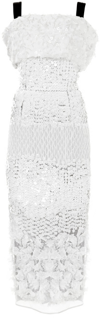 Prabal Gurung White Embroidered Off The Shoulder Dress