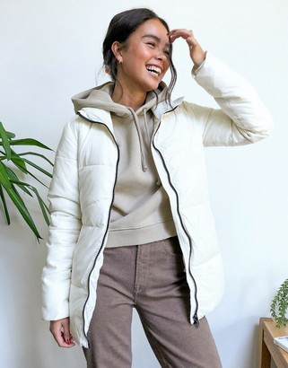 Gianni Feraud funnel neck puffer in cream