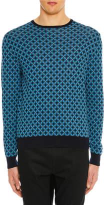 Prada Men's Argyle Crewneck Sweater