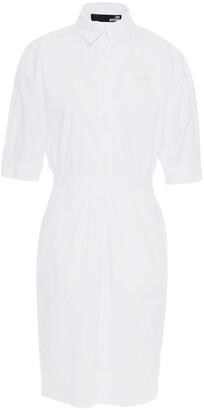 Love Moschino Gathered Cotton-blend Poplin Mini Shirt Dress