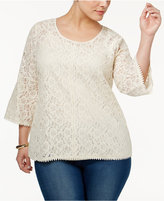 Style&Co. Style & Co Plus Size Lace Lantern-Sleeve Top, Created for Macy's
