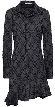 Derek Lam 10 Crosby Asymmetric Fluted Cotton-blend Jacquard Mini Shirt Dress