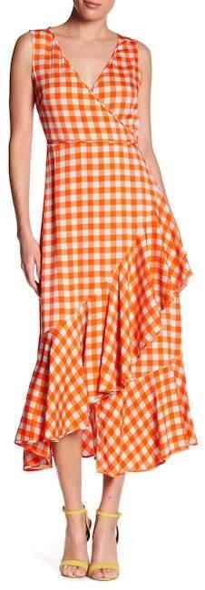 Diane von Furstenberg Asymmetrical Ruffle Hem Midi Dress