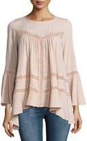 Cirana Flared Lace-Inset Top, Light Pink