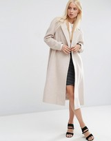 Asos Wool Blend Trapeze Coat In Mid Length