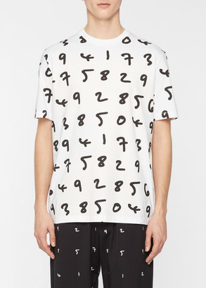 Paul Smith Men's White Oversized 'Numbers' Print T-Shirt
