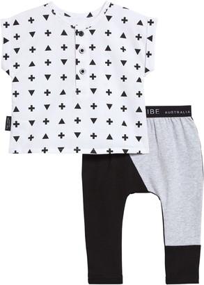 TINY TRIBE Cross Triangle Print Top & Leggings Set