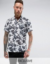 Reclaimed Vintage Inspired Shirt With Rose Print Reg Fit