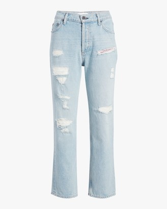 Askk Distressed High-Rise Straight Jeans