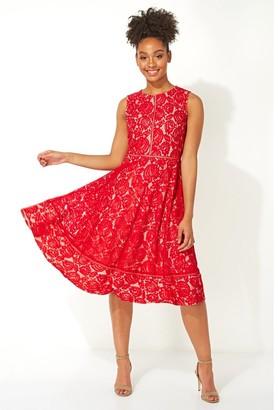 M&Co Roman Originals fit and flare lace midi dress