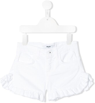 Msgm Kids Ruffled Denim Shorts