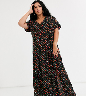 Daisy Street Plus button through maxi dress with splits in ditsy floral