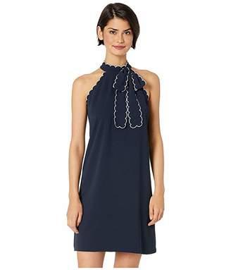CeCe Sleeveless Tie Neck Halter Dress w/ Trim