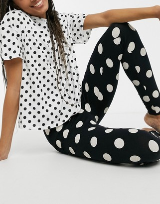 Lindex Josie organic cotton spot print T-shirt and legging set in mono