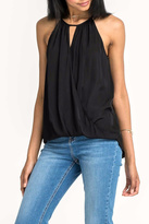 Lush Black Sleeveless Surplice Top