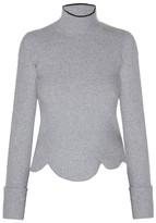 Marni High-neck scalloped-hem sweater