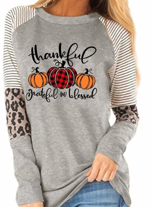 CORAFRITZ Women's Halloween Thanksgiving Thanksful Grateful And Blessed Printed Leopard Stitching Casual Sweatshirt Ladies T Shirts Long Tops for Leggings Gray