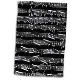 """3D Rose Black and White Notes-Stylish Sheet Music-Piano Notation-Contemporary Musician Gifts Hand/Sports Towel, 15 x 22"""""""