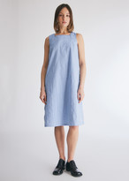Engineered Garments Women's Square Neck Dress in Light Blue Cotton Dobby Stripe, Size 0 | 100% Cotton