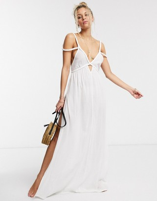 ASOS DESIGN braid maxi beach dress in textured white