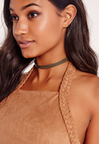 Missguided Faux Leather Choker Necklace Khaki