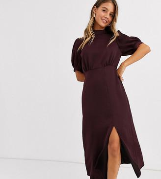 New Look high neck split midi dress in burgundy satin