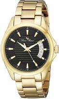 Lucien Piccard Men's 98660-YG-11 Excalibur Textured Dial Gold Ion-Plated Stainless Steel Watch
