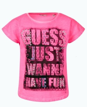 GUESS Big Girls Overdyed Slub Jersey Embellished Short Sleeve T-shirt