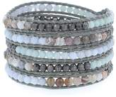 Chan Luu Grey Mix Wrap Bracelet on Iceberg Leather , BS-4918