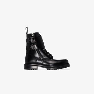 Balmain Black double strap ranger boots