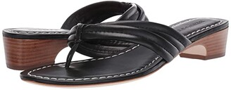 Bernardo Miami Demi Heel Sandals (Black Antique Calf) Women's Wedge Shoes