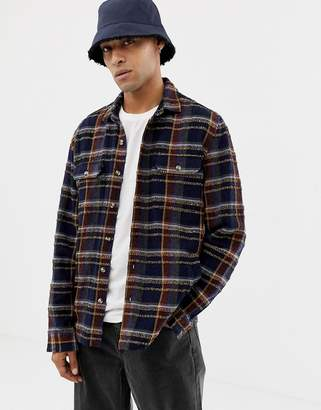 Asos Design DESIGN textured check overshirt in navy and brown