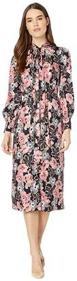 Rebecca Taylor Long Sleeve Jardin Fleur Dress (Indigo Combo) Women's Dress