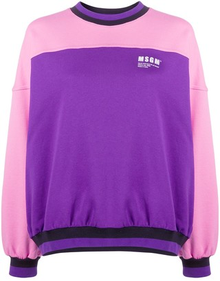MSGM Bi-Colour Crew Neck Sweatshirt