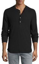 7 For All Mankind Thermal Henley T-Shirt, Black