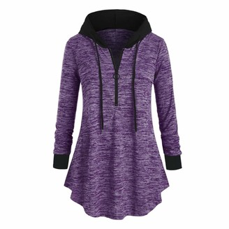 ZGRNPA Womes Long Hoodie Sweatshirt with Fleece Inside Longline Sweat-Pullover Pullover Sweater Longsleeve Hoods for Ladies Jumper Long Sleeve Oversized Casual Pockets Tunic Pullover Sweatshirt